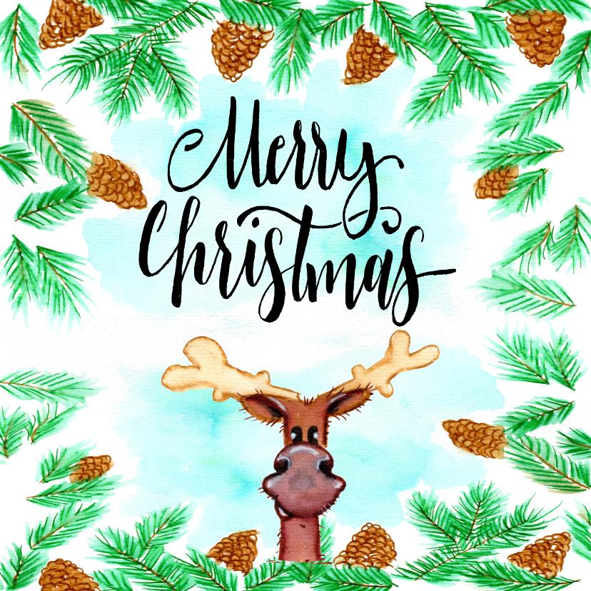 Kerstkaarten - Kerskaarten Rendier Merry Christmas