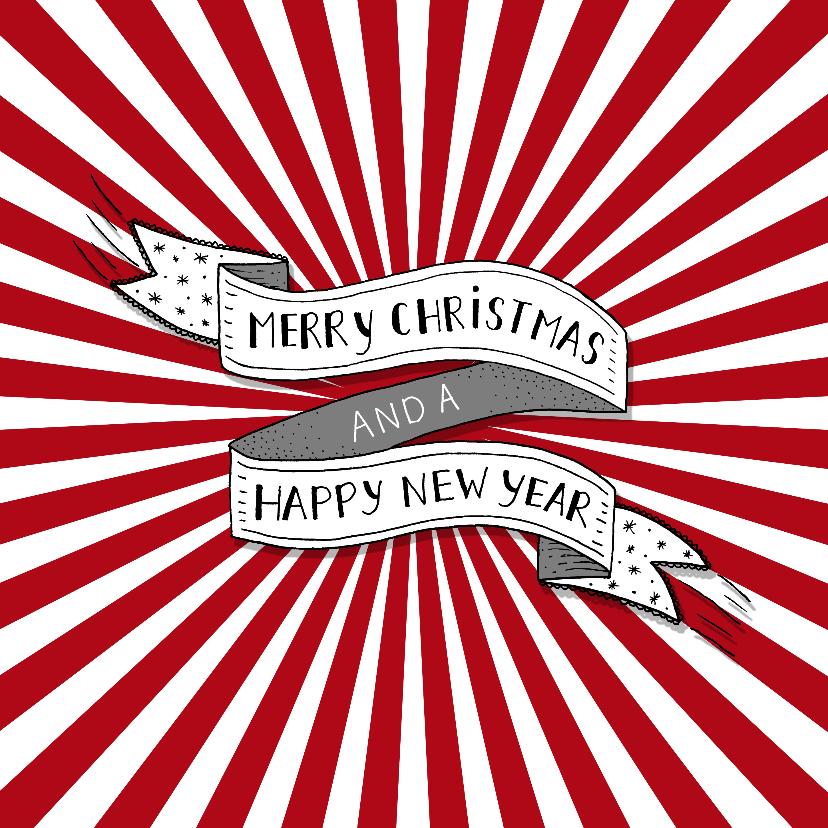 Kerstkaarten - Kerst banner rode strepen