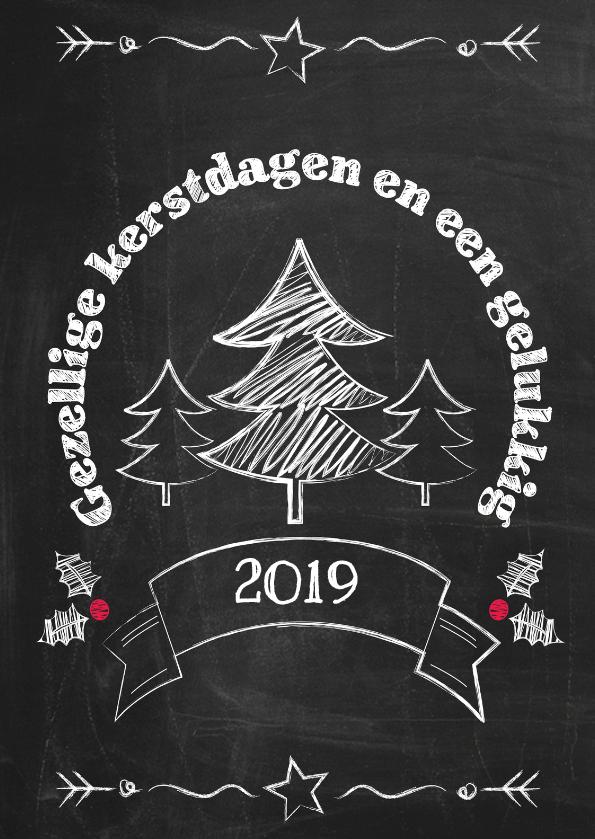 Kerstkaarten - Kerst boom op schoolbord 2019 -ByF