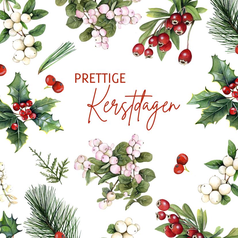 Kerstkaarten - Kerst botanische takjes