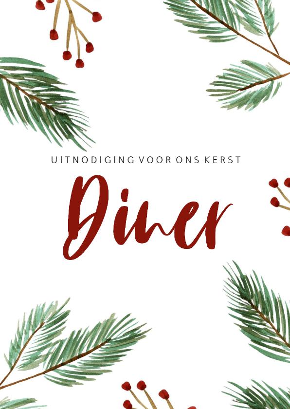 Kerstkaarten - Kerst diner kaart met kerstboom takjes en rode besjes