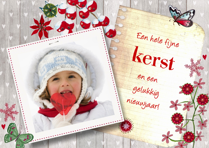 Kerstkaarten - Kerst eigen foto hout notitie vierkant