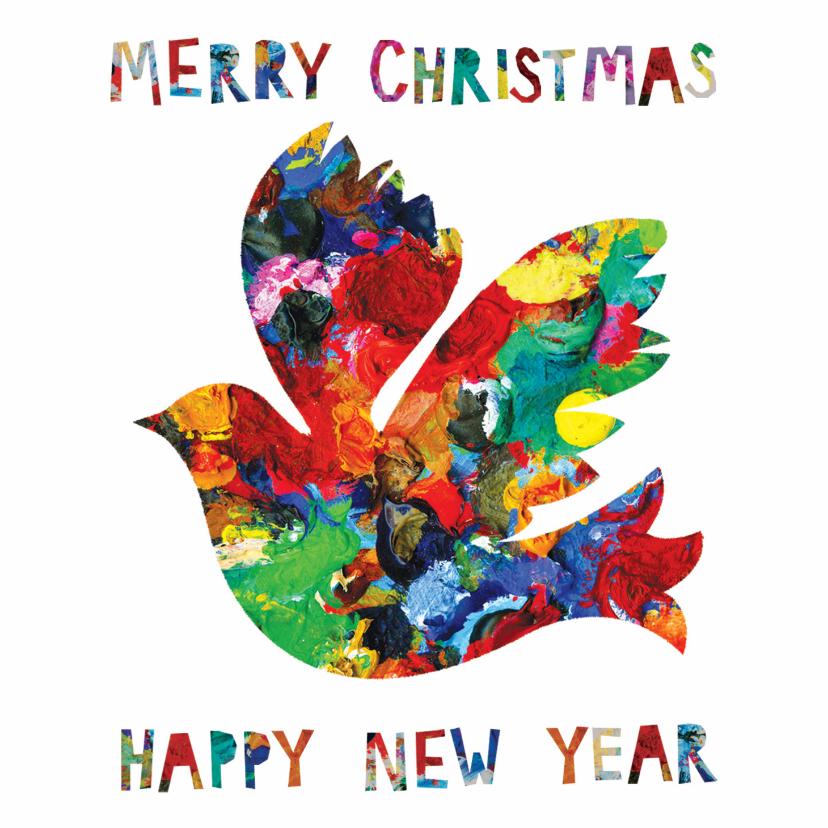 Kerstkaarten - Kerst- en nieuwjaarskaart met een duif in mooie kleuren