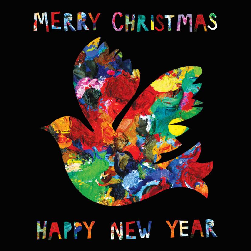 Kerstkaarten - Kerst- en nieuwjaarskaart met een duif op zwarte achtergrond