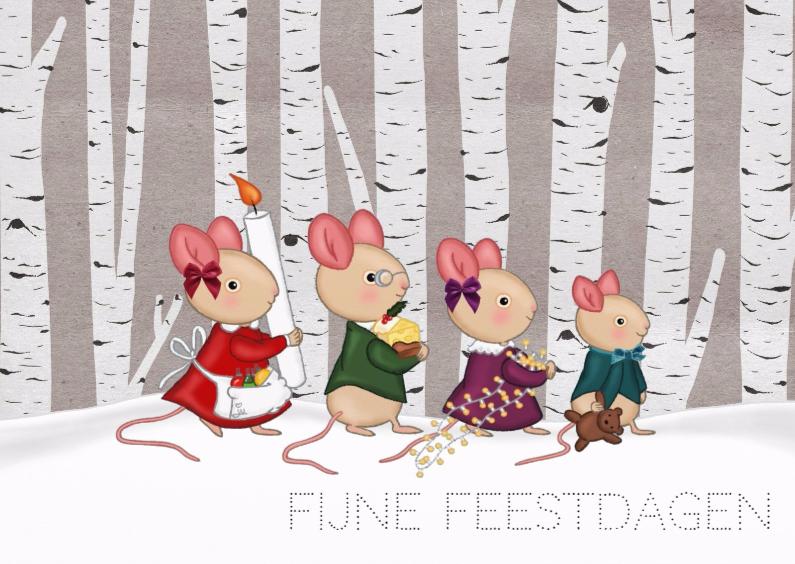 Kerstkaarten - Kerst Familie Muis - TbJ