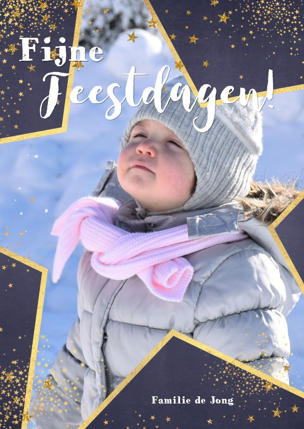 Kerstkaarten - Kerst feestelijk fotokader van een grote ster met sterretjes