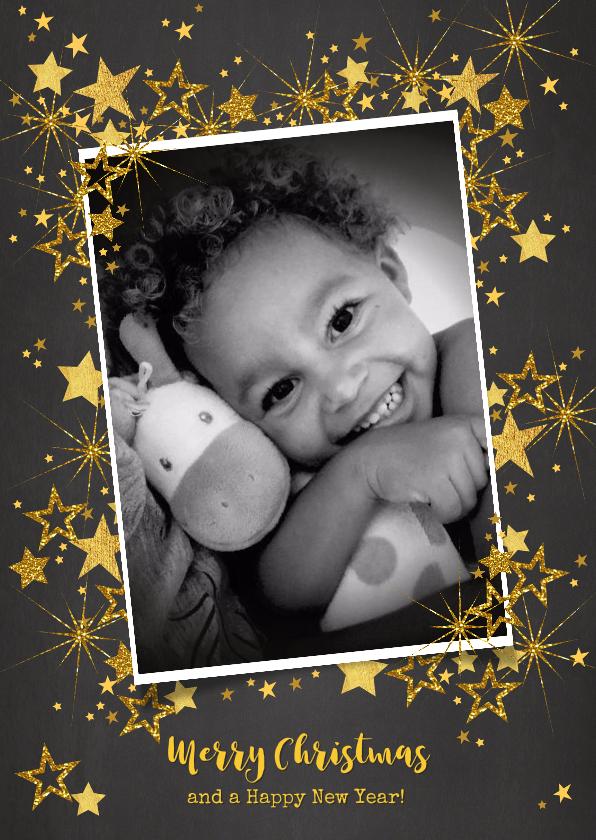 Kerstkaarten - Kerst feestelijke  fotokaart gouden sterren staand formaat