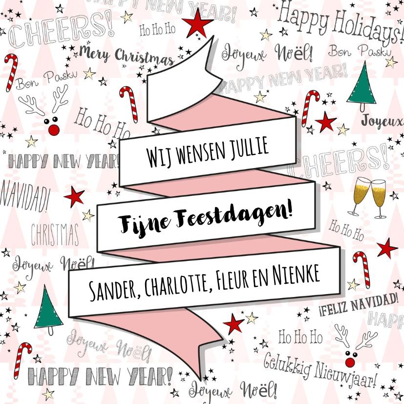 Kerstkaarten - Kerst feestelijke illustratieve kaart handlettering