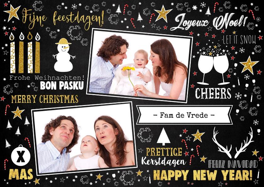 Kerstkaarten - Kerst feestelijke typografische kaart met 2 foto's