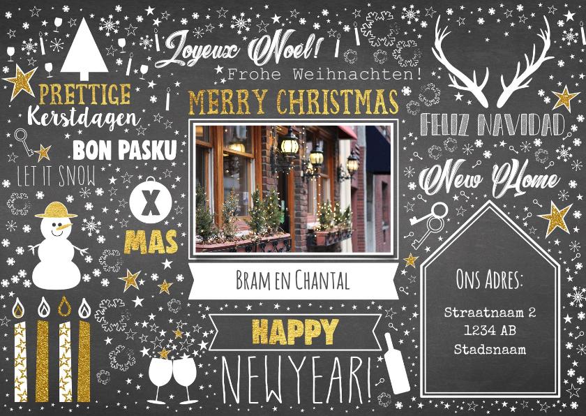 Kerstkaarten - Kerst feestelijke typografische verhuiskaart krijtbord