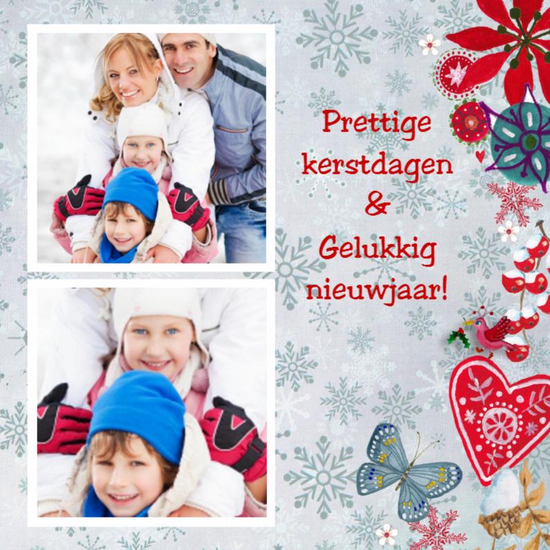 Kerstkaarten - Kerst foto collage SNEEUW bloem