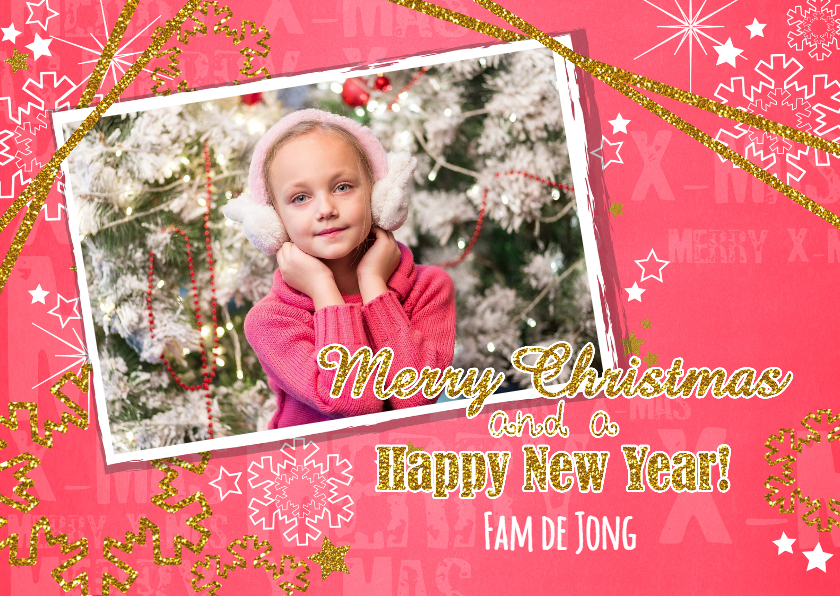 Kerstkaarten - Kerst foto hip rood en glitter L
