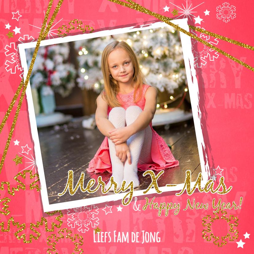 Kerstkaarten - Kerst foto hip rood en glitters