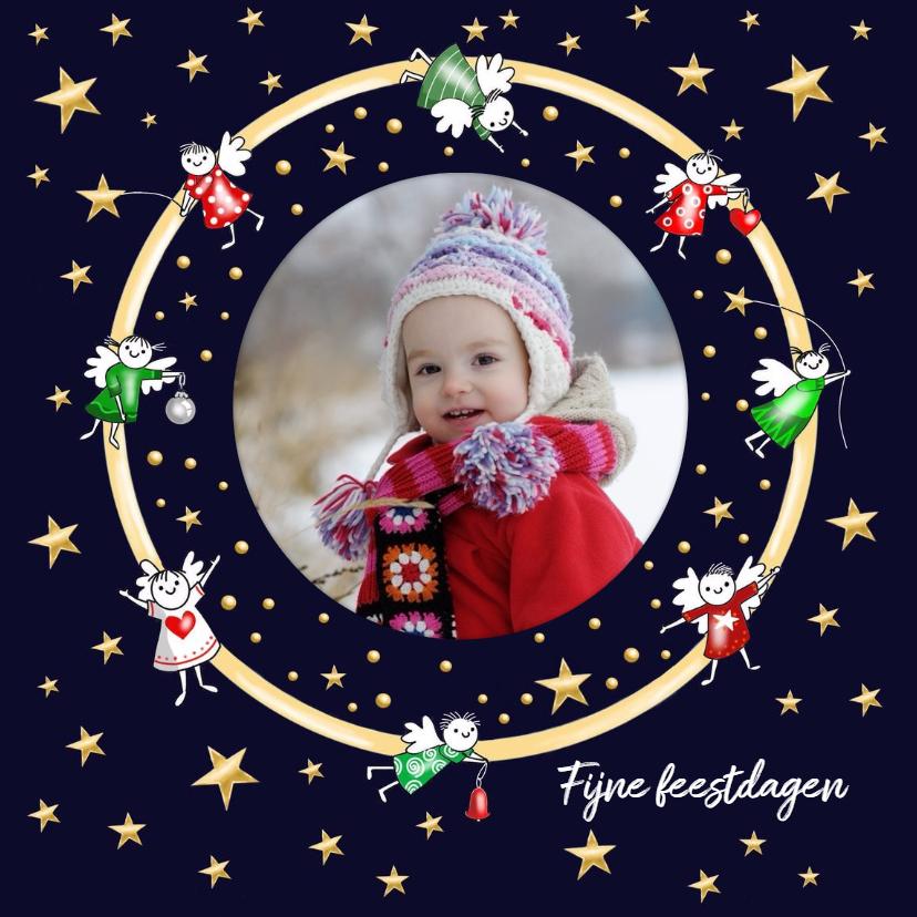 Kerstkaarten - Kerst - foto kaart cirkel met mini engeltjes