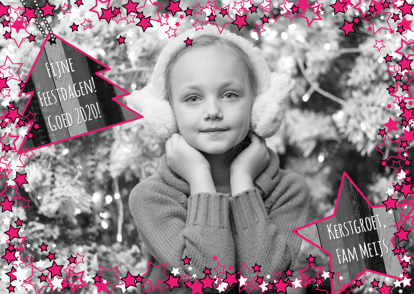 Kerstkaarten - Kerst foto ster roze hout L-HB