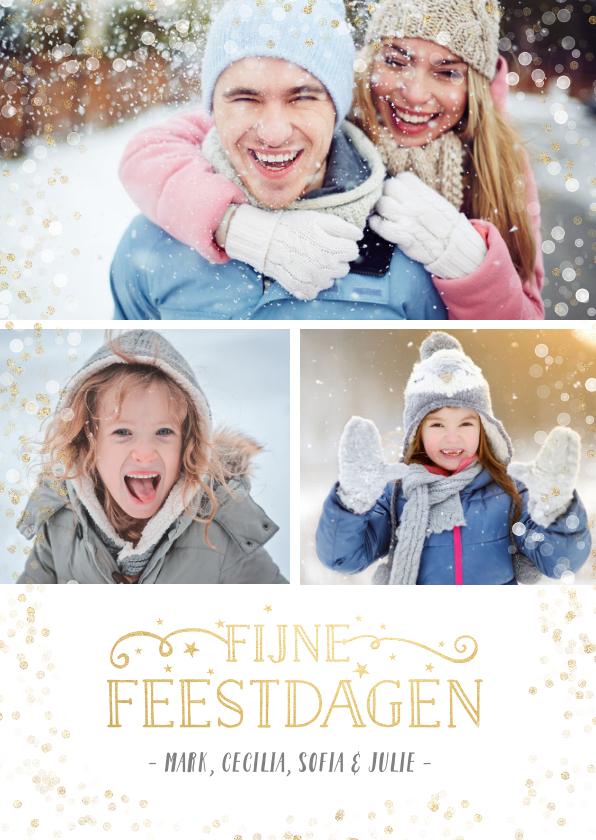 Kerstkaarten - Kerst fotocollage met 3 foto's en gouden confetti