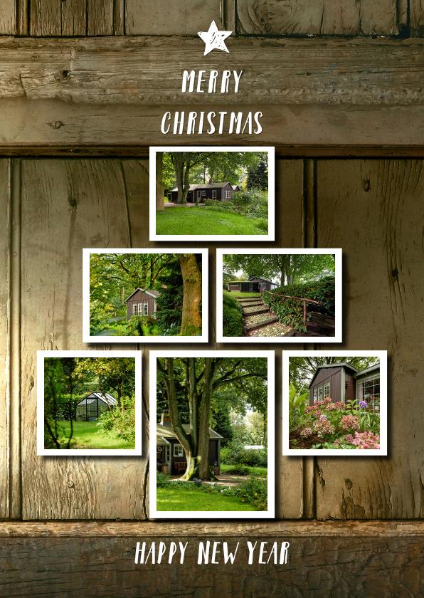 Kerstkaarten - Kerst fotocollage verhuiskaart hout