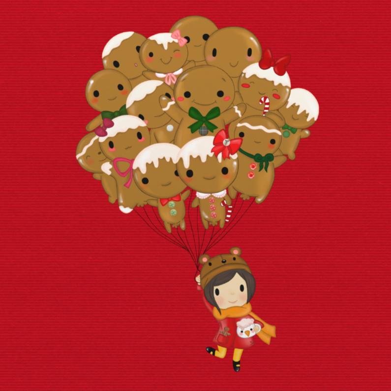 Kerstkaarten - Kerst Gingerbread Ballon - TbJ
