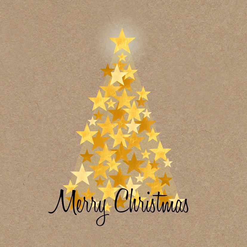 Kerstkaarten - Kerst gouden boom