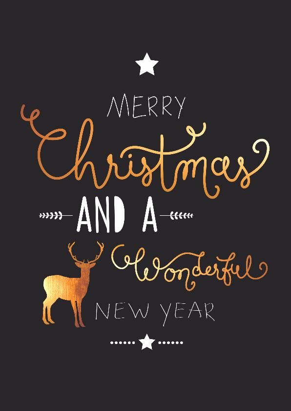 Kerstkaarten - Kerst - Handettering, rendier goud