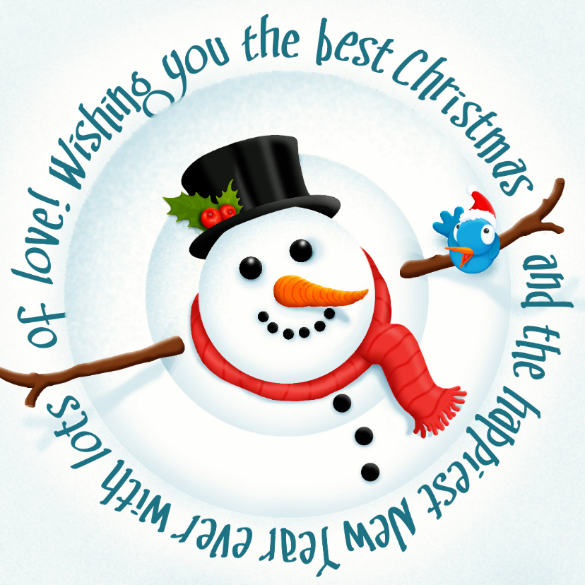 Kerstkaarten - Kerst Happy Snowman