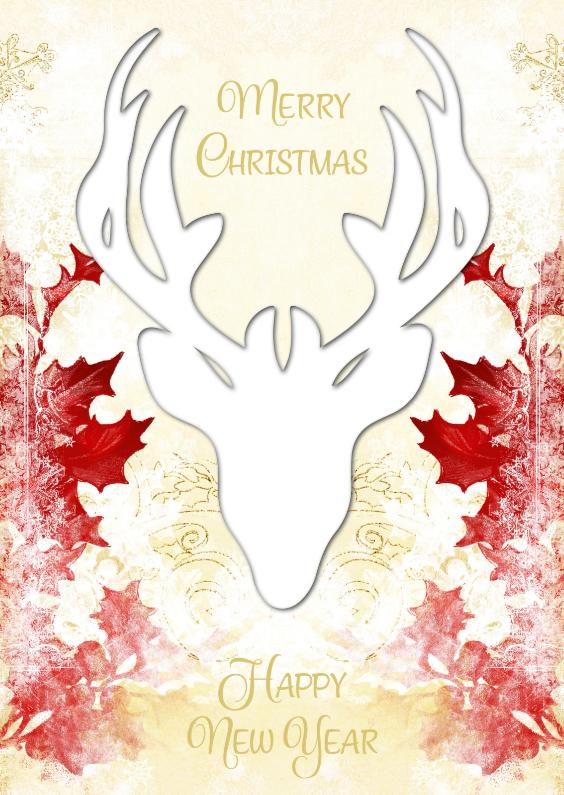Kerstkaarten - Kerst hert met rode hulst 2 - SG