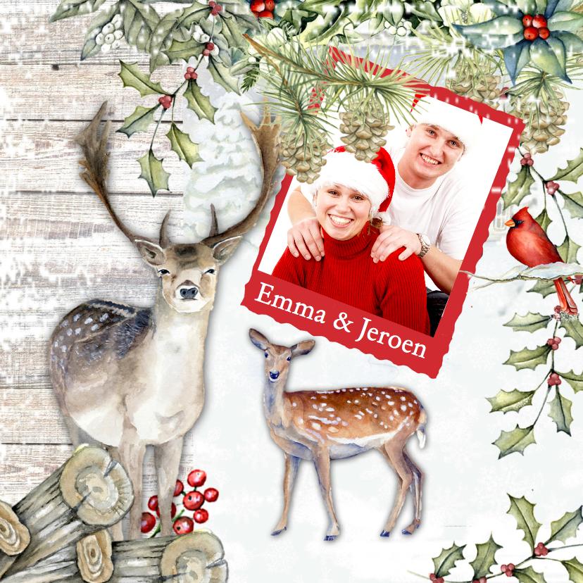 Kerstkaarten - Kerst hert sneeuw