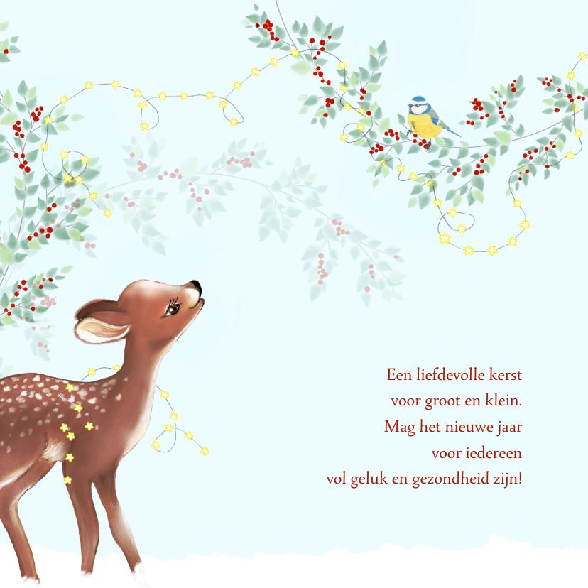 Kerstkaarten - Kerst hertje met groen en rode besjes