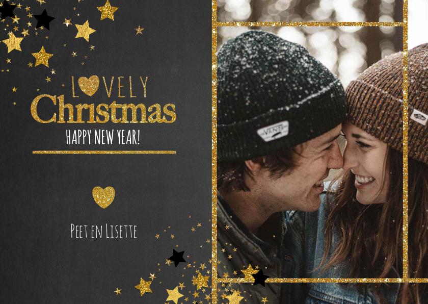 Kerstkaarten - Kerst hippe foto kaart krijtbord sterren Lovely Christmas