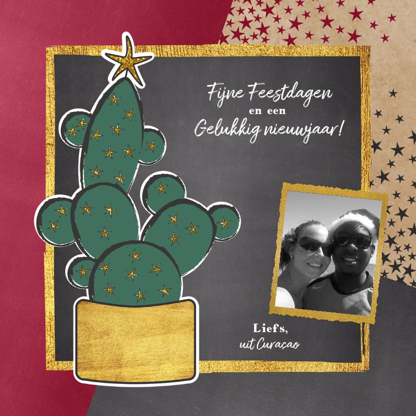 Kerstkaarten - Kerst hippe foto kaart met cactus en sterren