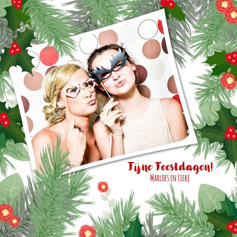 Kerstkaarten - Kerst hippe fotokaart botanica hulst en dennentakken