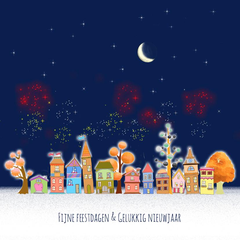 Kerstkaarten - Kerst, huisjes en vuurwerk