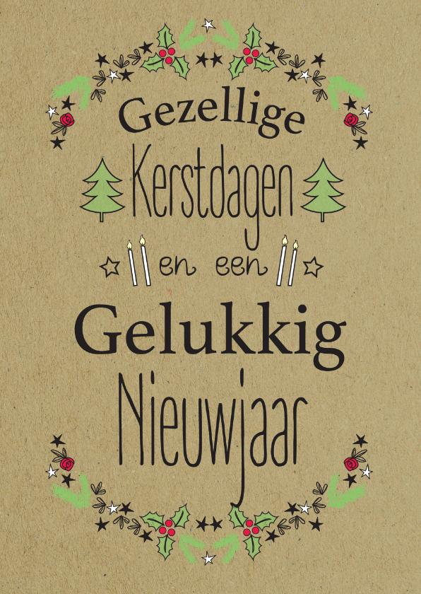 Kerstkaarten - Kerst illustratie blaadjes-ByF