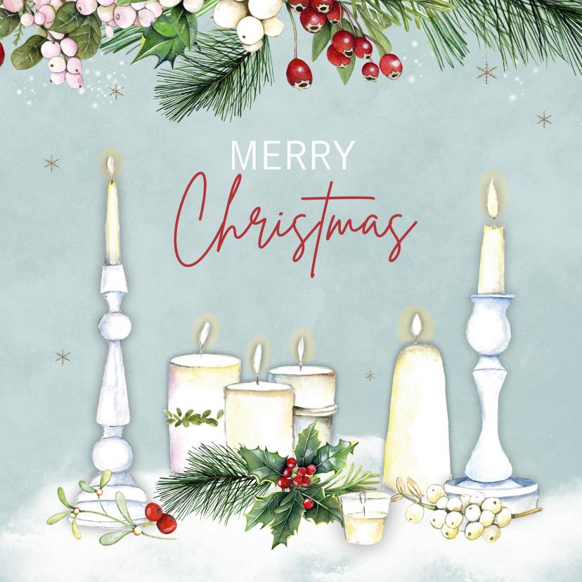 Kerstkaarten - Kerst kaarsen kersttakjes