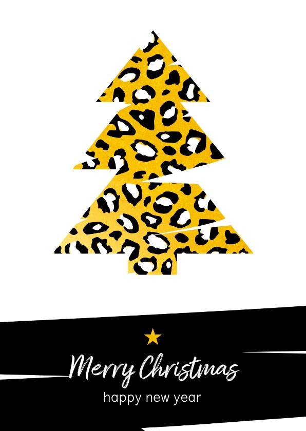 Kerstkaarten - Kerst - Kerstboom met goud en luipaard print