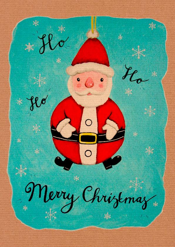 Kerstkaarten - Kerst kerstman decoratie retro - HR