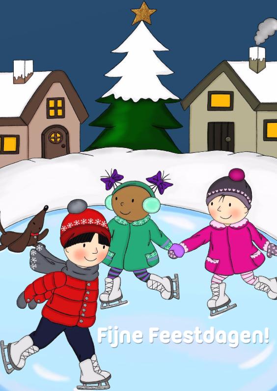 Kerstkaarten - Kerst Kinderen Schaatsen - TbJ