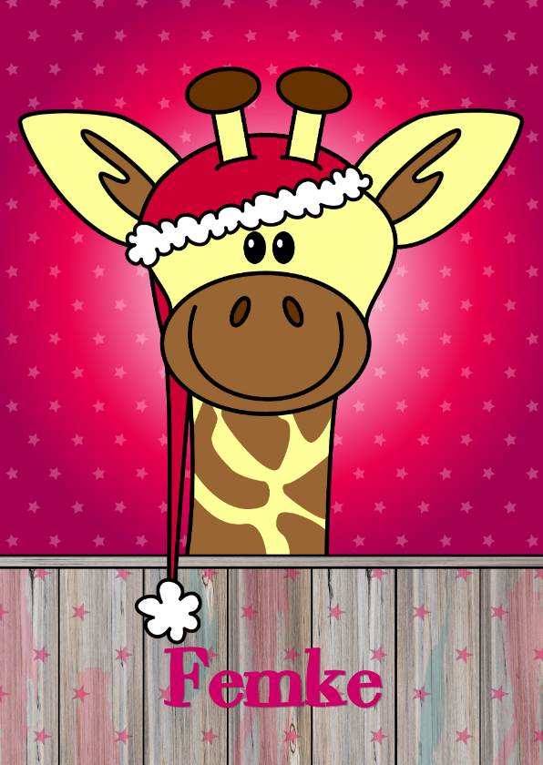 Kerstkaarten - KERST kinderkaart Giraffe