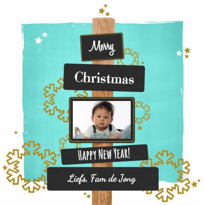 Kerstkaarten - Kerst lief fotokaart blauw goud