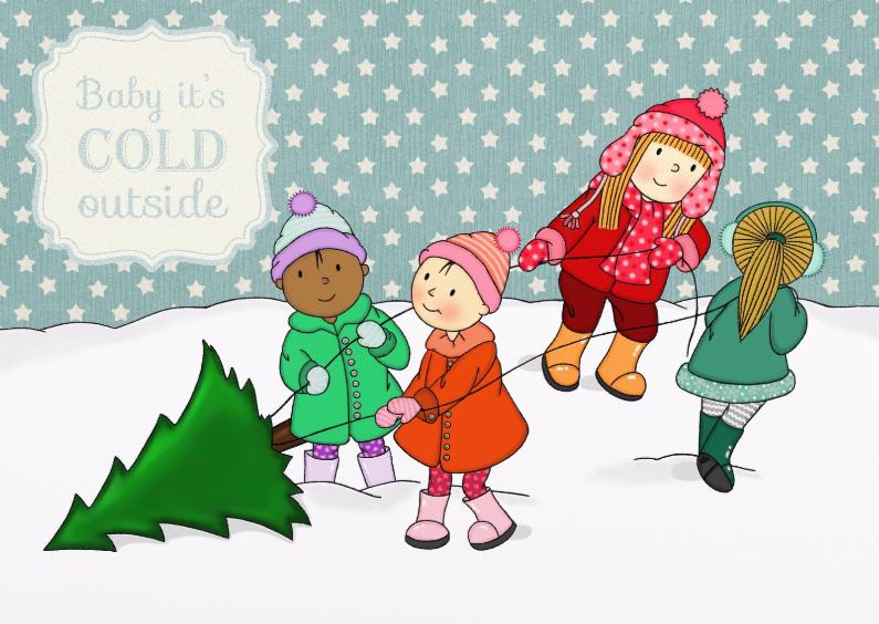Kerstkaarten - Kerst Meisjes Kerstboom - TbJ