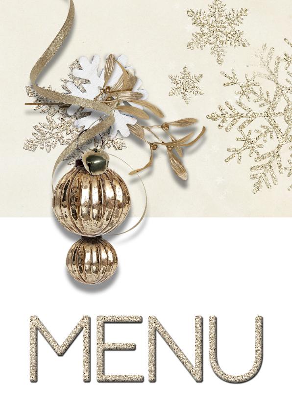 Kerstkaarten - Kerst menukaart trendy chique kerstbal