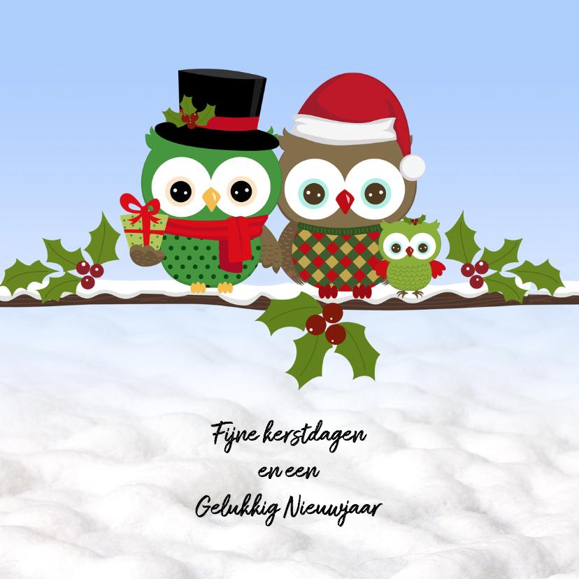 Kerstkaarten - Kerst met uilen in de sneeuw