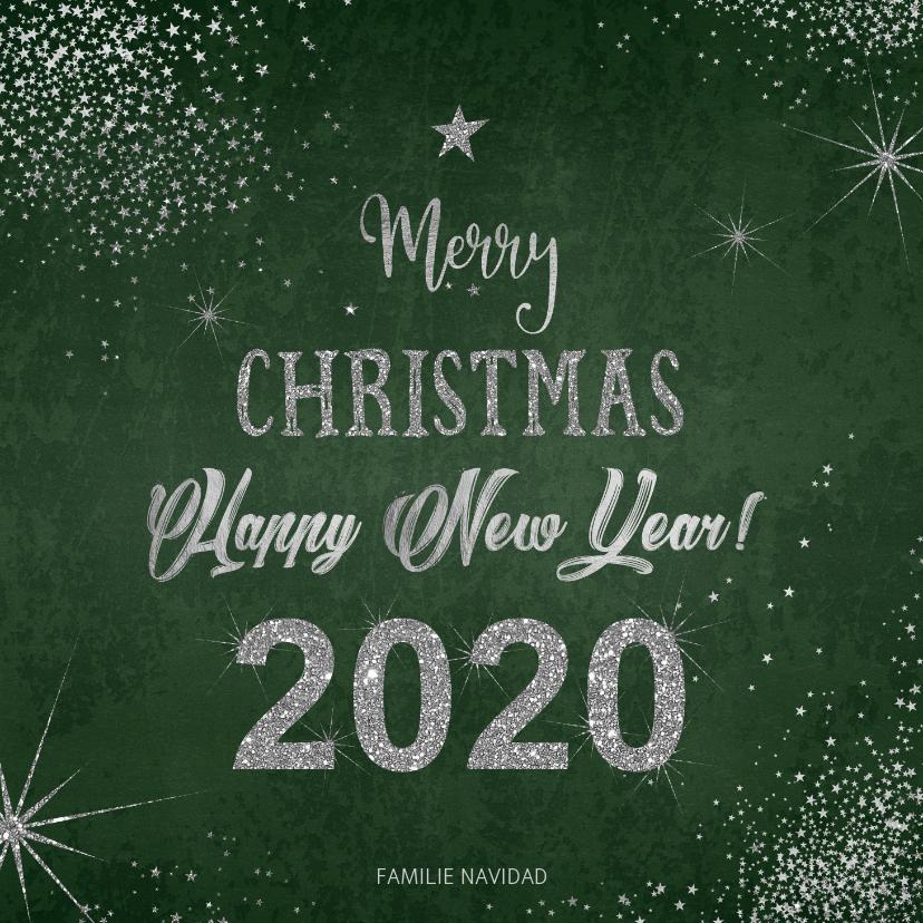 Kerstkaarten - Kerst moderne kerstkaart met zilverkleurige typografie