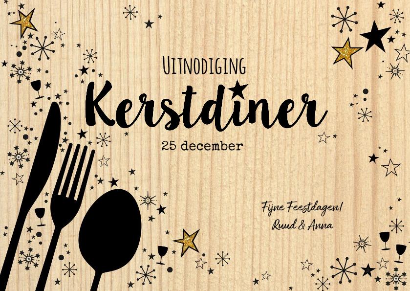 Kerstkaarten - Kerst originele uitnodiging kerstdiner hout en bestek
