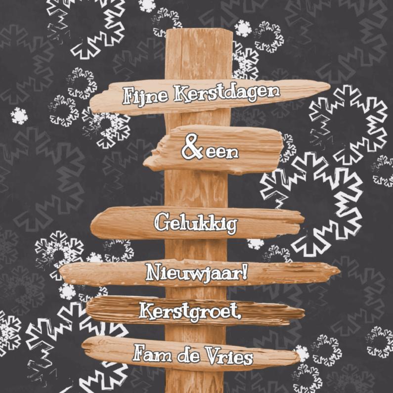 Kerstkaarten - Kerst paal krijtbord sneeuw Vknt