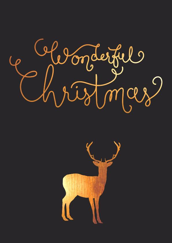 Kerstkaarten - Kerst - Rendier, goud, handlettering
