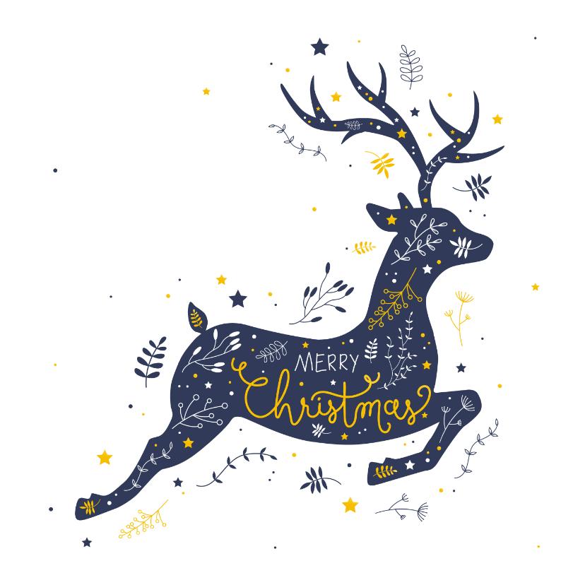 Kerstkaarten - Kerst - Rendier met botanische illustraties