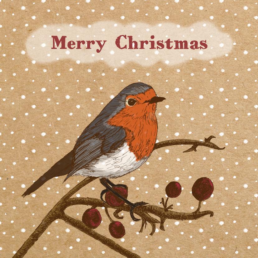 Kerstkaarten - Kerst roodborstje papier