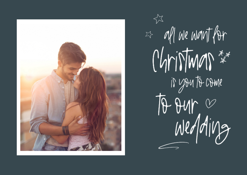 Kerstkaarten - Kerst save the date kaart met foto en handgeschreven tekst