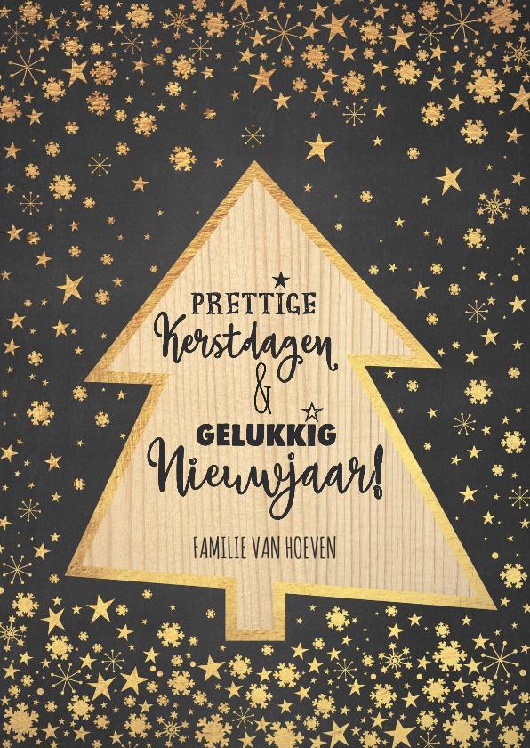 Kerstkaarten - Kerst sfeervolle kaart krijtbord met kerstboom hout look